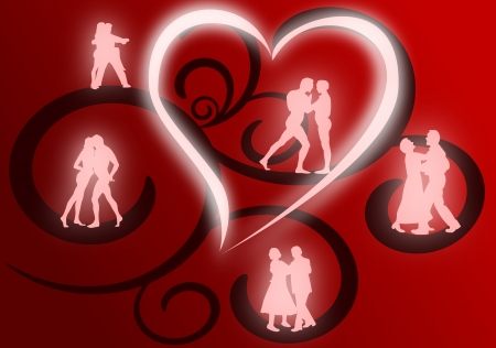 Several couples dancing as glowing silhouettes against a red and black flourish background. Vector