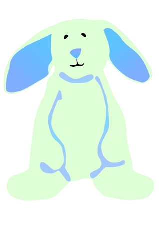 hind: Vector illustration of a blue Easter bunny standing on its hind legs. Illustration