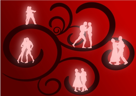 Several couples dancing as glowing silhouettes against a red and black flourish background.