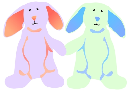hind: Vector illustration of a blue and pink Easter bunny standing on their hind legs and holding hands.