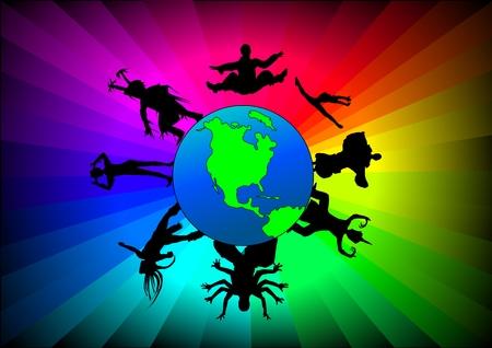 Vector illustration des danseurs de divers groupes ethniques dans le monde. Banque d'images - 3977210