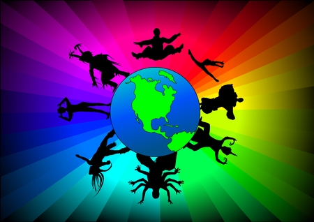 Vector illustration of various ethnic dancers around the world.