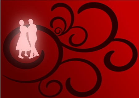 A pair of lovers dancing as glowing silhouettes against a red and black flourish background. Vector