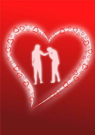 A pair of lovers dancing as glowing silhouettes against glowing heart. photo
