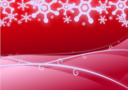 Vector illustration of a winter snowscape in red.