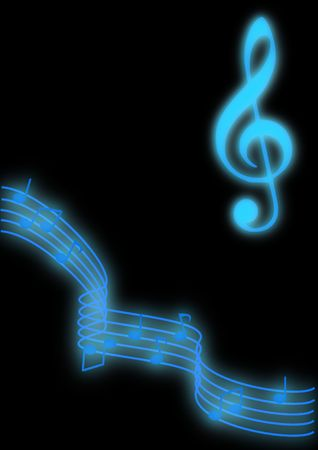 Glowing blue music notes on a black background. Imagens
