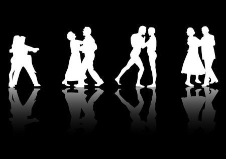 Four couples dancing silhouetted in white on a black background with a reflective floor.