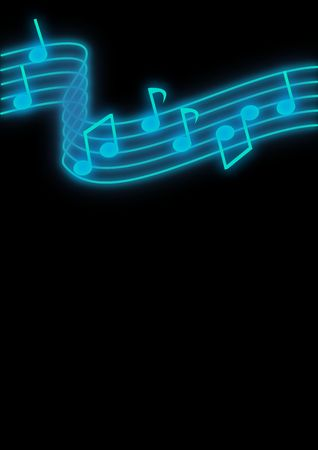 blue backgrounds: Glowing blue music notes on a black background. Stock Photo