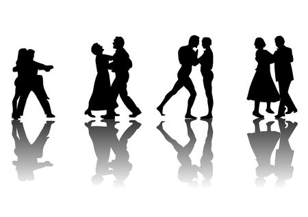 Four couples dancing silhouetted in black on a white background with a reflective floor.