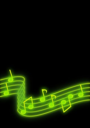 Glowing green music notes on a black background.