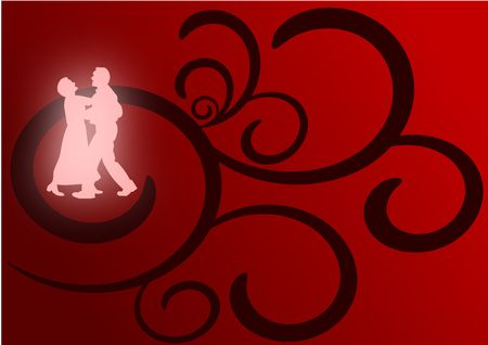 A pair of lovers dancing as glowing silhouettes against a red and black flourish background. Stock Photo - 4226029
