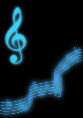 music: Glowing blue music notes on a black background. Stock Photo