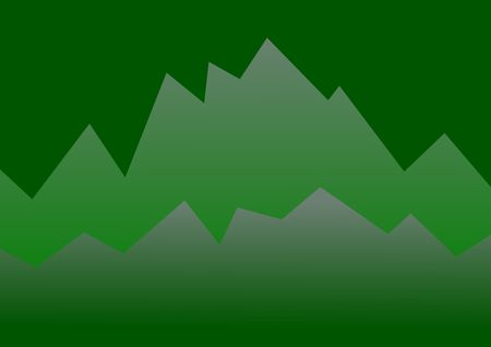 Abstract illustration of mountains rising in the distance in green colors. Stok Fotoğraf