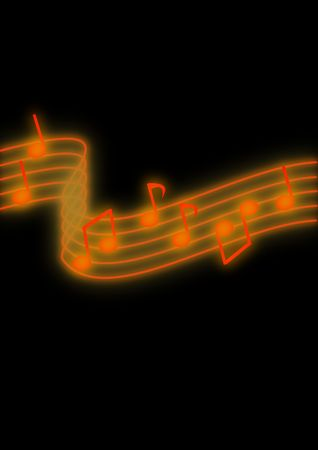 music background: Glowing orange music notes on a black background.