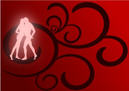 A pair of lovers dancing as glowing silhouettes against a red and black flourish background. photo