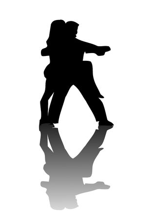 A pair of lovers silhouetted against a white background with their reflection on the floor. photo