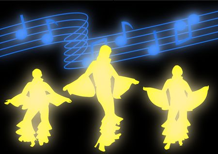 Dancers moving in disco attire against a backdrop of glowing music notes.