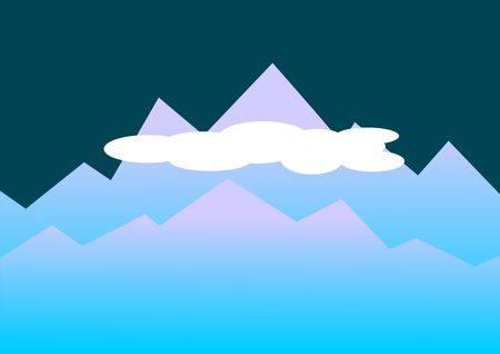 Abstract illustration of mountains rising in the distance in blue colors.