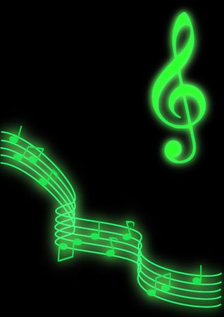 Glowing green music notes on a black background. Stok Fotoğraf - 4226049