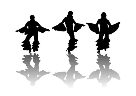Dancers moving in disco attire silhouetted on a white background with their reflection on the floor.