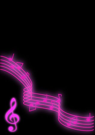 Glowing purple music notes on a black background.