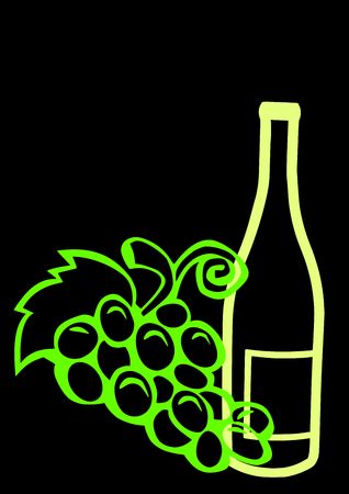 Outline of a wine bottle with grapes isolated on a black background. Banco de Imagens