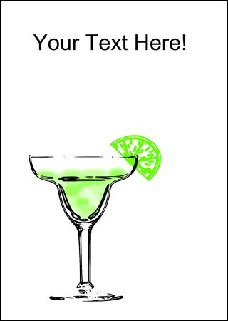An abstract margarita glass with a line on a white background with copy space. Stock Photo