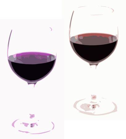 Twee glazen wijn gesmolten als afbeeldingen