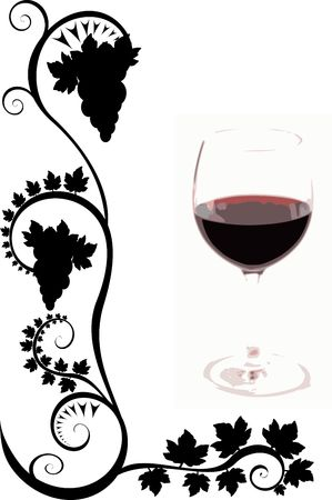 A wine glass on a white background with black flourishes Stock Photo