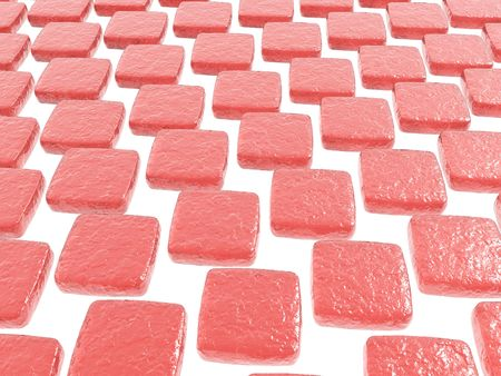 chewy: Chewy cherry candy squares on a white background Stock Photo