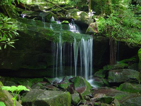 cascade: A small water fall flows on a rock ledge.