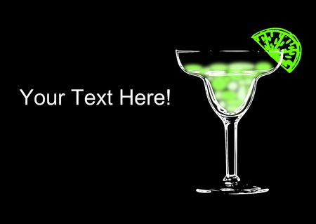 A creative illustration of a margarita on a black background.