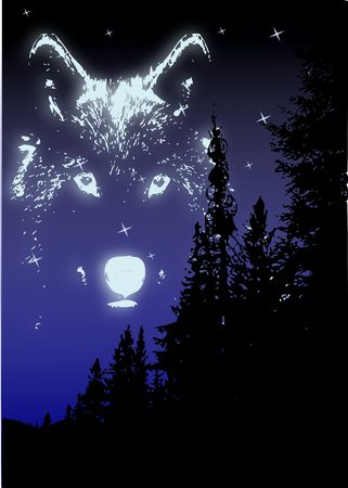 The spirit of the wolf in the sky above the silhouette of pine trees.