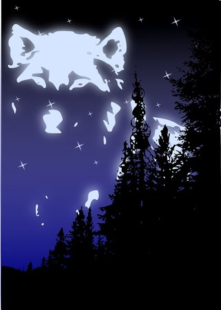 k9: The spirit of the wolf in the sky above the silhouette of pine trees.