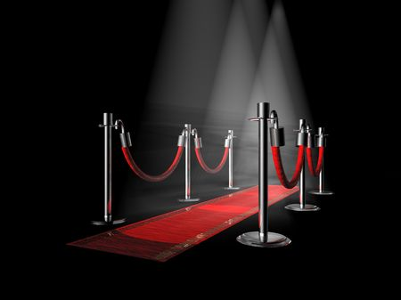 prestige: A red carpet with stanchions and spot lights.