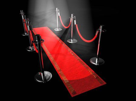Een rode loper met staander en spotlichten. Stockfoto