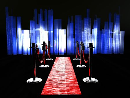 A red carpet with stanchions and spot lights.