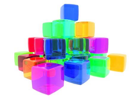 3D computer generate gel cubes of various colors.