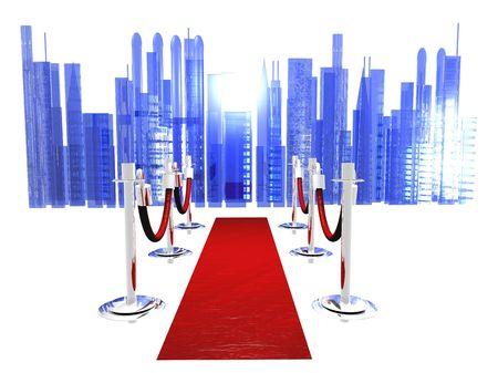 Een rode carpet met stanchions en geïsoleerd op wit met een abstracte stad in de achtergrond. Stockfoto