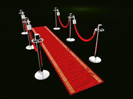 Een rood tapijt met rongen en spot lights.