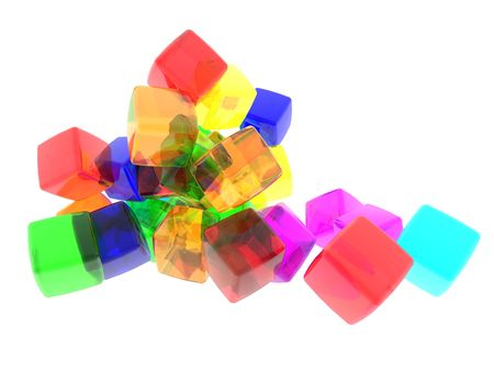 3D computer generate gel cubes of various colors.