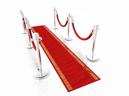 Een rode loper met stanchions en geïsoleerd op wit Stockfoto