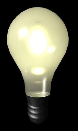 An illustration of an illuminated light bulb. Imagens