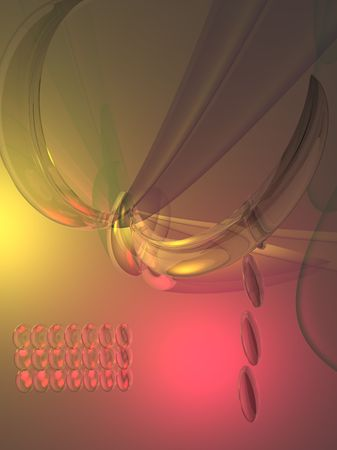 Abstract 3D illustration in warm tones. Imagens