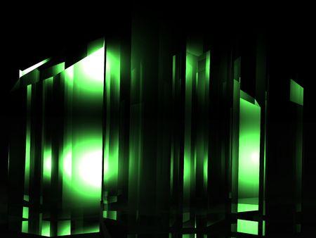 Illustration of a green crystal or kryptonite substance. Banco de Imagens