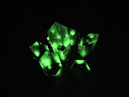 Illustration of a green crystal or kryptonite substance. Stock Photo