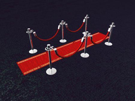支柱とスポット ライト レッド カーペット。 写真素材
