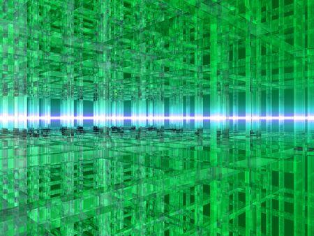 3D illustration of a grid made of green squares. illustration