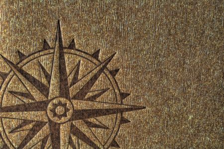 imprinted: A compass rose imprinted on a wood texture with copy spce. Stock Photo