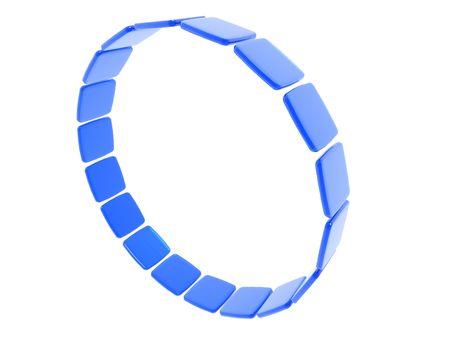 A 3D ring make of blue tiles isolated on white Banco de Imagens